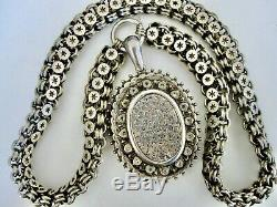 Antique Victorian English Sterling Silver Engraved Locket BookChain Necklace