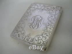 Antique Victorian Engraved STERLING SILVER Card Case Wm Kerr 1880s