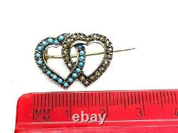 Antique Victorian Forget Me Not Turquoise & Seed Pearl Sterling Silver Brooch