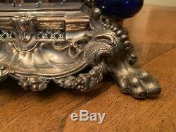 Antique Victorian Germany Sterling Silver 900 Inkstand With Horse Figurine