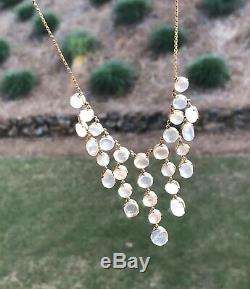 Antique Victorian Gilded Sterling Silver Glowing Moonstone Necklace