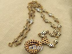 Antique Victorian Gilt Gold Over Sterling Silver Bohemian Garnet Necklace