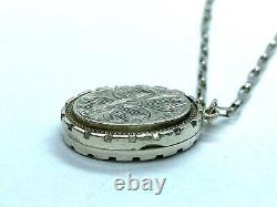 Antique Victorian Ivy Fidelity Sterling Silver Bright Cut Oval Locket Pendant