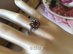 Antique Victorian Jewellery Sterling Silver Multi Garnet Ring Vintage Jewelry