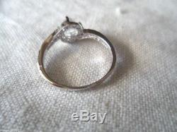 Antique Victorian Jewellery Sterling Silver Ring White Sapphires Vintage Jewelry