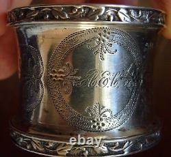 Antique Victorian Large Engraved Sterling Silver Napkin Ring Beautiful Leaf