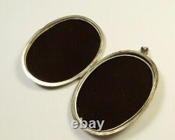 Antique Victorian Large Oval Etched Swirl Photo Locket Sterling Silver 925 Penda