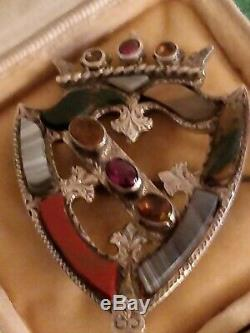 Antique Victorian Large Sterling Silver Scottish Luckenbooth Brooch 1866