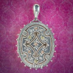Antique Victorian Locket Sterling Silver Gold Forgets Me Nots And Ivy Circa 1880
