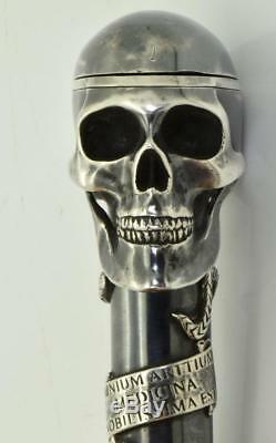 Antique Victorian Memento Mori Sterling Silver Doctor's SKULL Cane handle watch