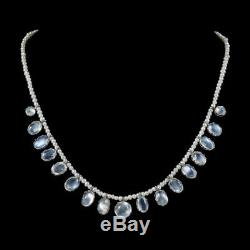 Antique Victorian Moonstone Pearl Necklace Sterling Silver Circa 1900