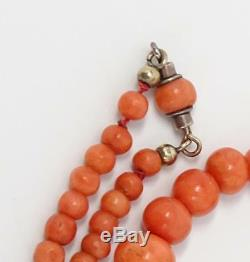Antique Victorian Natural Salmon Coral Graduated Bead Sterling Necklace 15.7g