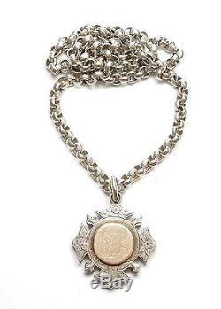 Antique Victorian Necklace Chain And Fob Medal 1898 Sterling Silver 92.5g 22