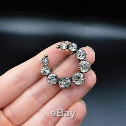 Antique Victorian Old Cut Paste Sterling Silver Crescent Moon Brooch Pin C. 1860