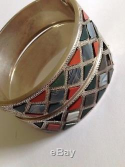 Antique Victorian Pair Of Scottish Sterling Silver Polished Agate Hinged Bangles