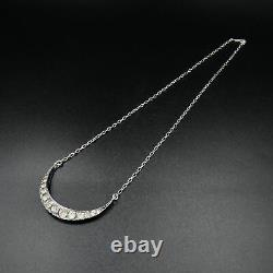 Antique Victorian Paste Crescent Moon Sterling Silver Conversion Necklace 16