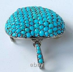Antique Victorian Pave Turquoise Sterling Silver Heart Locket Back Pendant Pin