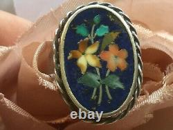Antique Victorian Pietra Dura Mosaic Flower Sterling Silver Ring w Lapis Stone