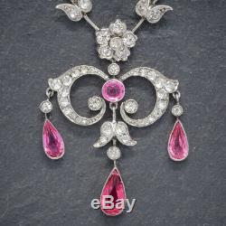 Antique Victorian Pink Paste Lavalier Necklace Sterling Silver Circa 1900