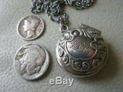 Antique Victorian Puffy Charm STERLING SILVER Chain Chatelaine Compact KPR