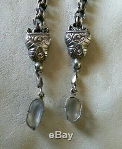 Antique Victorian Rare Blue Tinted Moonstone Sterling Silver Pendant Earrings
