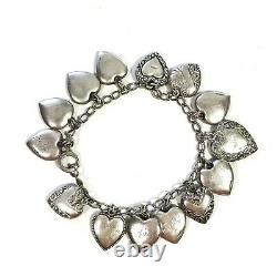 Antique Victorian Repousse Puffy Heart Charm Bracelet Sterling Silver 14 Charms