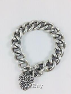 Antique Victorian Repousse Sterling Silver Puffy Heart Padlock Charm Bracelet