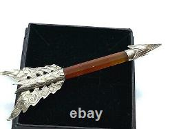 Antique Victorian Scottish Sterling Silver Banded Carenelian Agate Arrow Brooch
