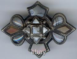 Antique Victorian Scottish Sterling Silver Layered Agate Pin Brooch