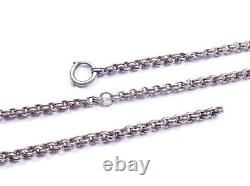 Antique Victorian Silver Necklace Chain Round Link 925 Sterling 9.3 Grams