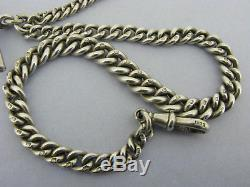 Antique Victorian Solid Sterling Silver Albert Pocket Watch Chain & T-Bar 1899