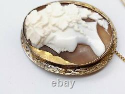 Antique Victorian Solid Sterling Silver Carved Cameo Ladies Pin Brooch