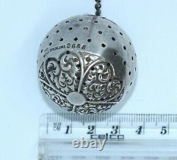 Antique Victorian Sterling American Whiting Repousse Tea Ball Infuser
