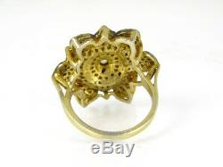 Antique Victorian Sterling Silver 1.5ctw Rose Cut Diamond Ladies Ring 6.9g