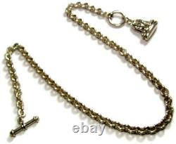 Antique Victorian Sterling Silver 18 Watch Chain Fob Necklace 66.8 grams