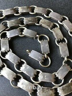Antique Victorian Sterling Silver Aesthetic Ornate Wide Link Chain Necklace 33