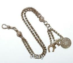 Antique Victorian Sterling Silver Albertina Watch Chain Bracelet, Lucky Charms