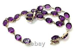 Antique Victorian Sterling Silver Amethyst Paste Riviere Necklace