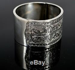Antique Victorian Sterling Silver Bangle Gorgeous Floral Engraving