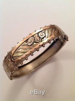 Antique Victorian Sterling Silver & Bi Colored Gold Decorated Hinged Bangle