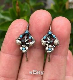 Antique Victorian Sterling Silver Bird Dove Turquoise Red Glass Dangle Earrings
