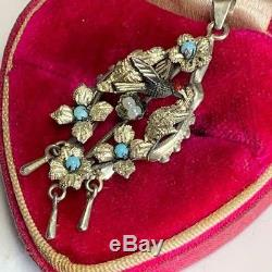 Antique Victorian Sterling Silver Bird Nest Turquoise Glass Pendant for Necklace