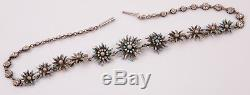 Antique Victorian Sterling Silver & Blue Enamel Daisies Collar Necklace
