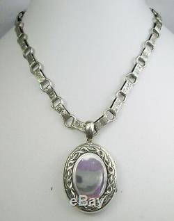 Antique Victorian Sterling Silver Book Chain Engraved & Repousse Locket Necklace