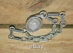 Antique Victorian Sterling Silver Book Chain Necklace & Mourning Locket with Hair