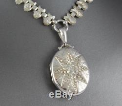 Antique Victorian Sterling Silver Book Collar Chain Necklace And Locket c 1883