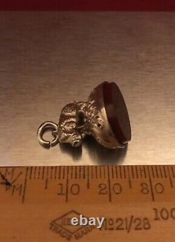 Antique Victorian Sterling Silver Carnelian Wild Boar Fob Seal Without Initials