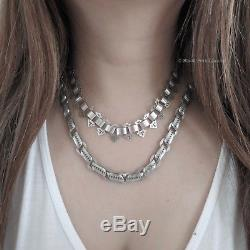 Antique Victorian Sterling Silver Collar Book Chain Choker Necklace