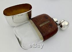 Antique Victorian Sterling Silver & Crocodile Leather Hip Flask & Cup 1897