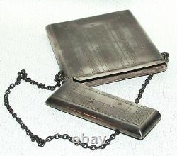 Antique Victorian Sterling Silver DANCE CARD Holder Compact Chatelaine 186r